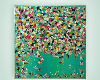 """Turquoise Abstract Painting, Acrylic Art, Landscape Painting,  """"Flower rain"""" by M.Schöneberg  24x24x0,75"""