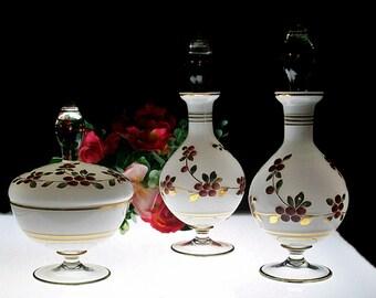 Vintage 3~Piece Glass Vanity / Dresser Set