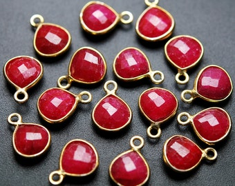 925 Sterling Silver Vermeil,Ruby Faceted Heart Shape Pendent,2 Piece of 14mm approx