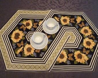 Black and Gold Sunflower Table Runner