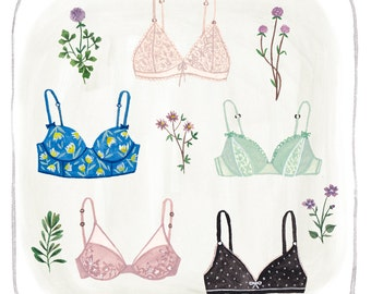 "Painted bras 8 x 8"" giclee print"