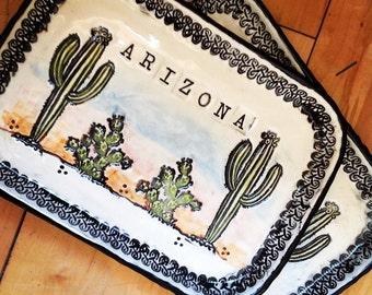 Made to Order Arizona Cactus Ceramic Tray, Jewelry Dish, Soap Dish, Spoon Rest, Catchall