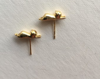 Gold cat surgical steel earrings