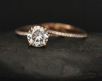 Rose Gold Moissanite Round 8mm Forever Brilliant Moissanite Engagement Ring and Diamond Wedding Band Set in 14k Rose Gold