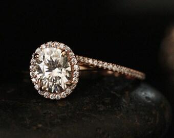 Moissanite Engagement Ring Forever Classic Moissanite Oval 9x7mm and Diamond Half Eternity Bridal Ring Set