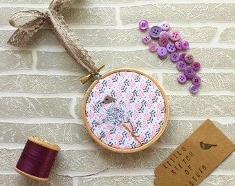 Field Mouse, Embroidery Hoop, Mini Embroidery Hoop, Pink Fabric, Girly Home Decor, Gift for Her, Animal Gift, Pink Home Decor, Teacher Gifts