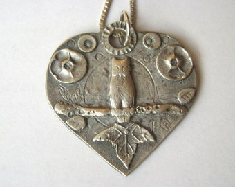 new owl amulet pendant in sterling