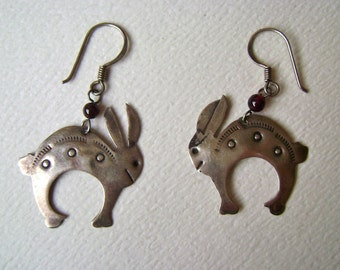 vintage southwestern rabbit earrings, sterling