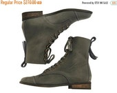 BOOTS SALE New! Janis, dark stone  Boots, Leather Boots, Grey Boots, Flats, Handmade Shoes