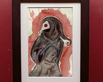 Plague Doctor Creature Archival Print in 4 by 6 Black Frame