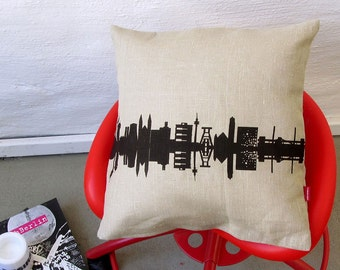 RUHRPOTT RUHRGEBIET Linen Throw Pillow Cushion Cover - 100%natural linen  - Ruhrgebiet Skyline - hand screenprinted with care by 44spaces