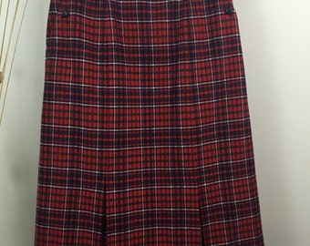 Vintage Red Plaid Skirt Wool Midi Skirt Size 11 Country Christmas Skirt