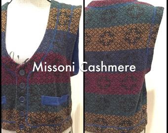 70s Auth Missoni Cashmere Button Down Sweater Vest - Womens Medium