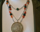 Swirl Pendant Necklace with Redline Agates & Green Ametrine