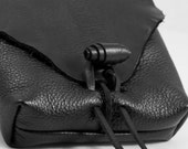 Custom Size- Leather Belt Bag, Natural Edge Flap, Pouch with Belt Loops in Black for Men or Women