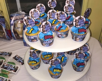 Superhero cupcake wrappers and toppers