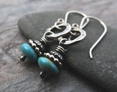 Turquoise Ring Drop Earrings // bits of turquoise dangled from textured sterling silver // artisan earrings (3600)