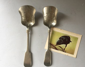 Spoons pair of vintage tea spoons patterned EPNS nickel metal  x 2