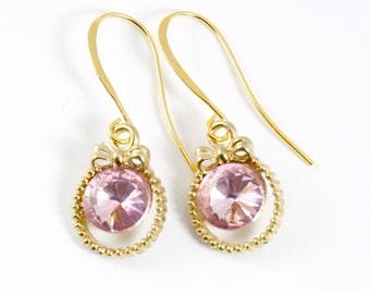 Pink Rhinestone Bow Earrings, Gold Bow Earrings, Bridal Jewelry, Bridesmaids Earrings