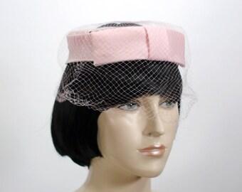 Vintage Women's Hat - Pink Halo Hat - Church Hat - Mid Century Hat - Pink Veil