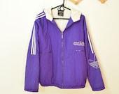 Throwback ADIDAS windbreaker purple trefoil logo 80s sportswear athletic hooded zip up unisex size Large