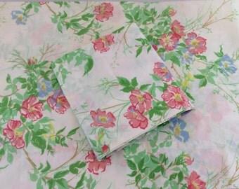 Vintage Pink Flowered Pillowcases, Spring Summer Flowered Pillowcases