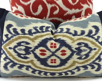 SALE!!! Blue Ikat Lumbar Throw Pillow Cover, Navy, Gray, Tan, Ted & Natural Ikat Pillow Cover With Navy Border, 12x20, Navy Ikat