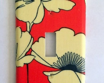 Poppy Flowers Fabric Covered Single Light Switch Cover / Switch Plate / Orange and Cream / Modern Illustration / Housewarming Gift / Home