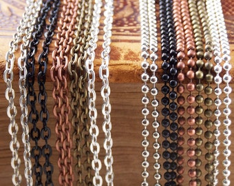 """5 Crafting Chains with Clasps - Choose 24"""" (61cm) or 30"""" (76cm) Lengths - Silver, Antique Silver, Vintage Brass/Bronze, Antique Copper,Black"""