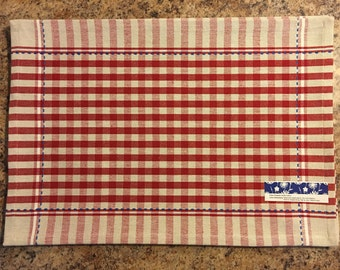 Red Gingham Placemats with Blue Stitching..FREE MONOGRAM..Set of 4..Cotton Place Mats..Gift