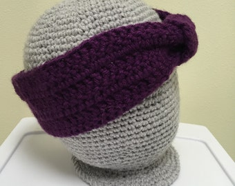 Eggplant Purple Crochet Knotted Headband