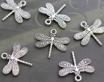 10 Dragonfly Charms Antique Tibetan Silver Double Sized