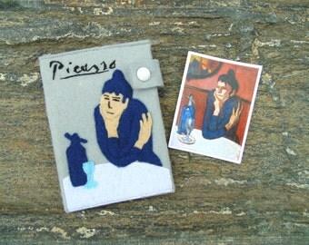 Picasso Passport Cover/ Hand Embroidered Passport Wallet/ Absinthe Drinker Passport Holder/ Vegan Wallet