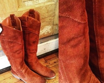 Suede Burnt Brown Boots