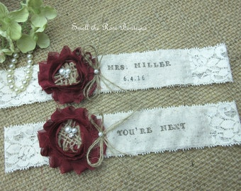Personalized Monogrammed Burlap Wedding Garter Set ,Rustic Wedding Garter Set,Wedding Garters