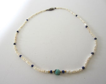Vintage East Indian Seed Pearl Turquoise Lapis Necklace