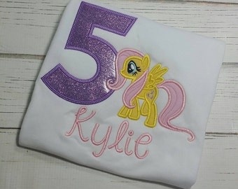 My little pony fluttershy Birthday Embroidered shirt
