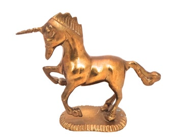 Vintage Brass Unicorn Figurine, Gold Unicorn Horse, Unicorn Statue, Hollywood Regency, Gold Horse, Brass Horse Statue, Brass Equine Decor