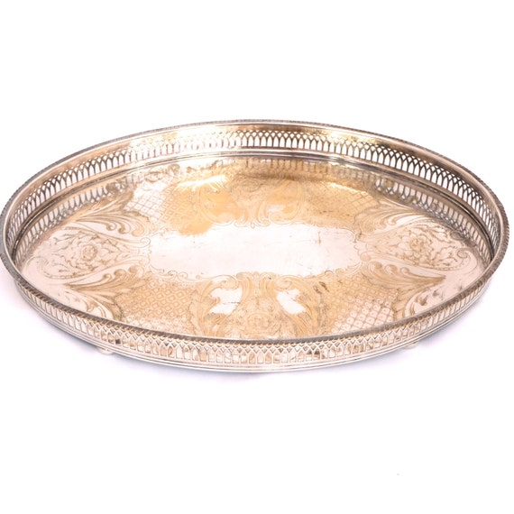 Details about brass photo frame vintage ornate oval frame victorian - Vintage Silver Plated Gallery Tray Oval Viners Sheffield