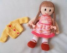 Doll, Hand Knitted Doll Olivia, handmade doll, dressed doll, Rag doll, Cloth Doll, Waldorf doll, little girl gift, Flower Girl Gift.