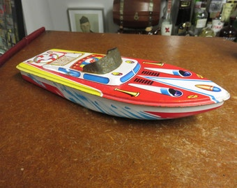 "Vintage 1960s Japan Tin Litho 12"" Speed Boat"