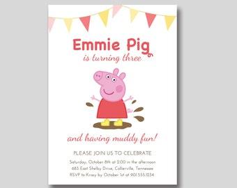 Peppa Pig Birthday Invitation - Custom Printable