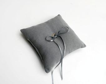 Ring Bearer Pillow - Grey Minimal Ring Pillow - Ring Pillow Wedding - Ring Cushion - Wedding Pillow - Ring Bearer - Wedding Decorations