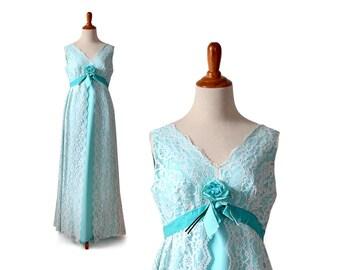 1960s Formal Dress, 1960s Prom Dress, 60s Prom Dress, Mint Green Prom Dress, 60s Formal Dress, Blue Prom Dress, Vintage Retro Evening Formal