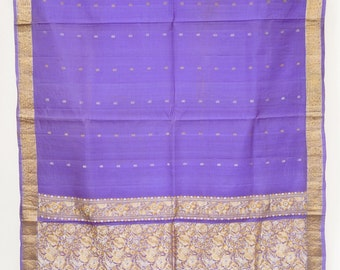 Zari Floral Violet Pure Silk Saree Vintage Indian Crafting Drapery Fabric Sari   TP3445