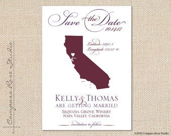 Custom Wedding Map, State Map Save The Date, California Winery Save The Date, Destination Wedding Save The Date, Elopement Reception