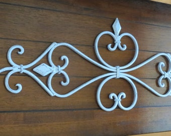 Large Fleur de Lis Metal Wall Hanging / Scrolled Iron Wall Decor / Metal Wall Art / Pale Blue or Pick Color / Shabby Cottage Chic Decor