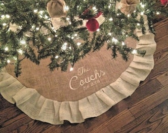 "Monogrammed Christmas Burlap Tree Skirt 50"" with ruffle, personalized, great christmas gift, gifts under 50 rustic"