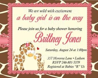 Giraffe Girl Baby Shower Invitation