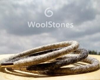 Wool bracelet set of 3: gray woolThread